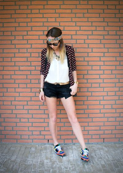 Zara Printed Vest, H White Shirt, Black Denim Shorts, Zara Colored Sneakers