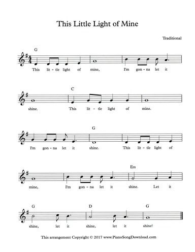 This Little Light of Mine: free lead sheet with melody, chords and ...
