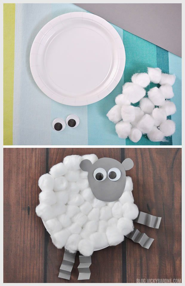 Cotton ball and paper plate sheep craft & Chick u0026 Lamb Easter Craft | Easter crafts Lambs and Easter