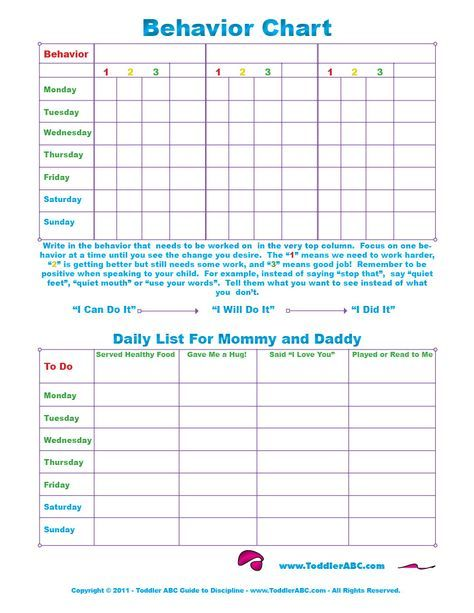 Free Printable Toddler Behavior Chart For 1 2 3 4 And 5 Year Olds In Color