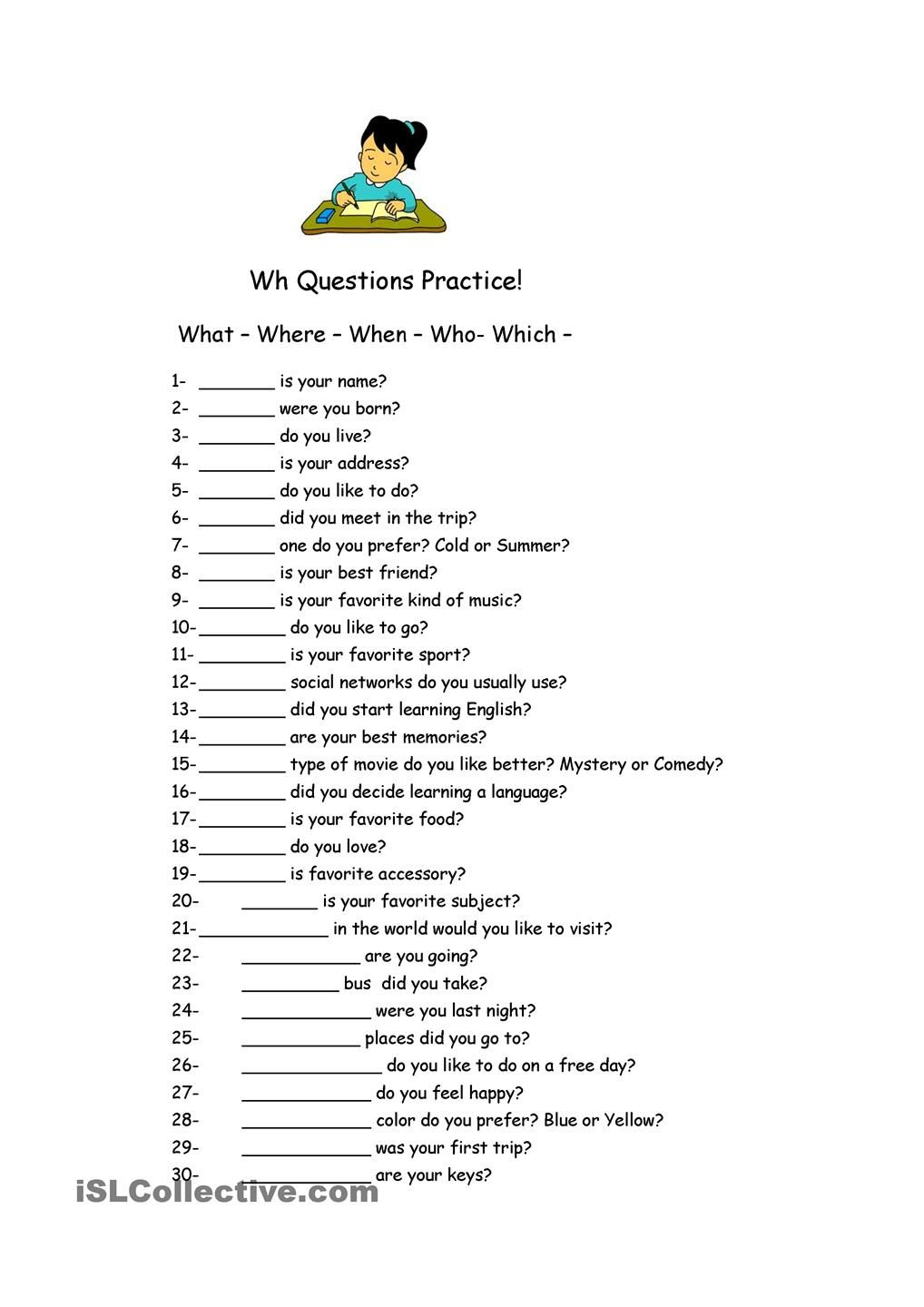 small resolution of Wh Questions Practice.   Wh questions worksheets