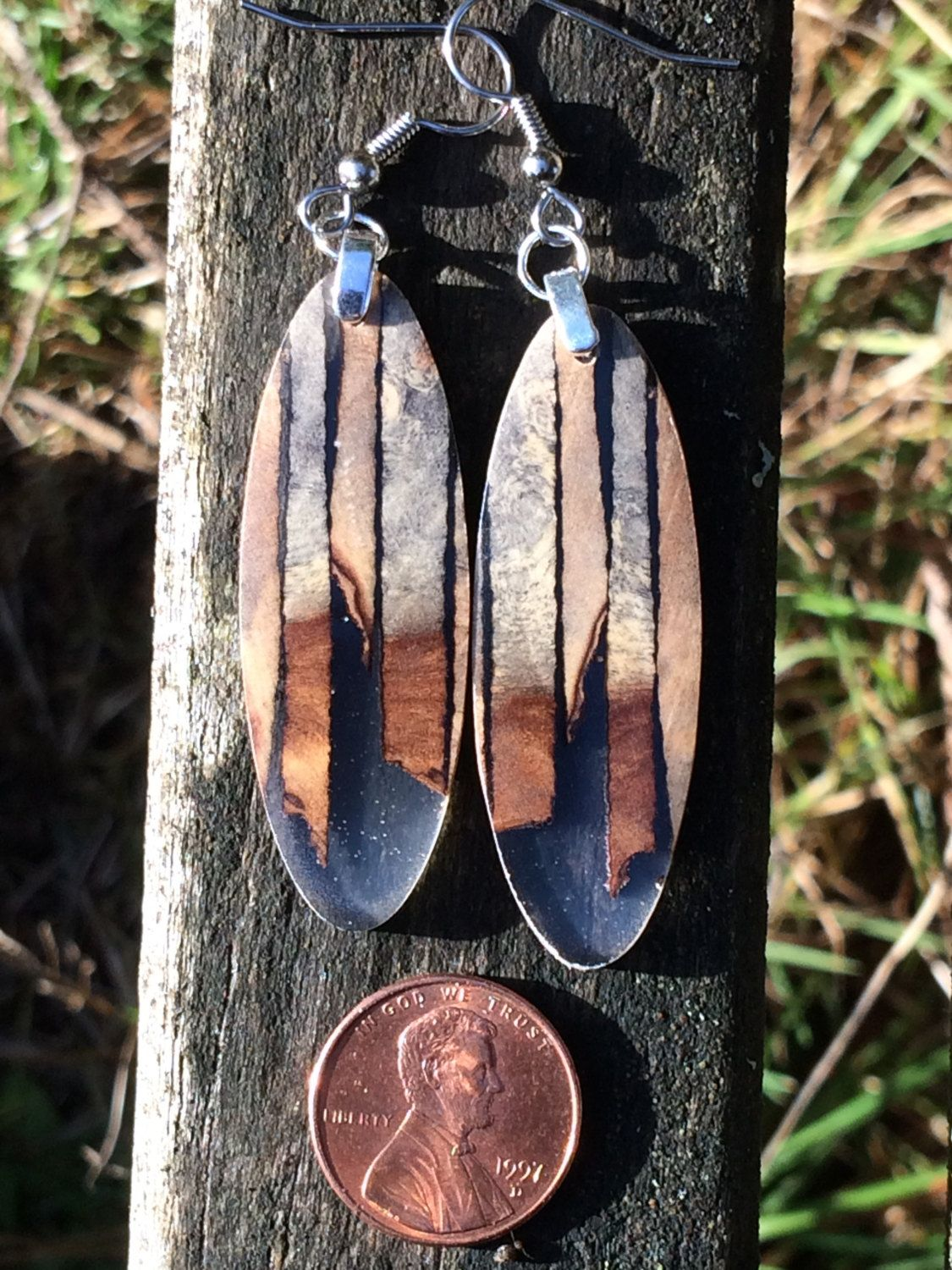 Earrings Made From Reclaimed Buckeye Burl Wood And Resin by forestlifecreations on Etsy