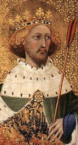 Saint Edmund King and Marty.( dettaglio del dittico Wilton ). Secondo la tradizione fu re a soli 15 anni. Combattè contro i danesi, ancora pagani, e fu da loro sconfitto nell'869. Rifiutando di abiurare il cristianesimo, venne ucciso.