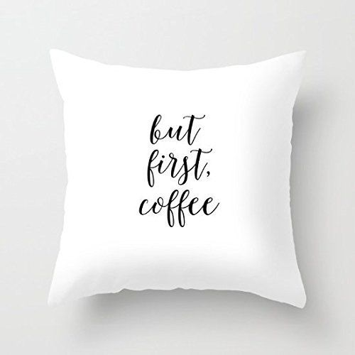"18"" X 18"" But First Coffee Bar Decor Throw Pillow Cover Pillow"
