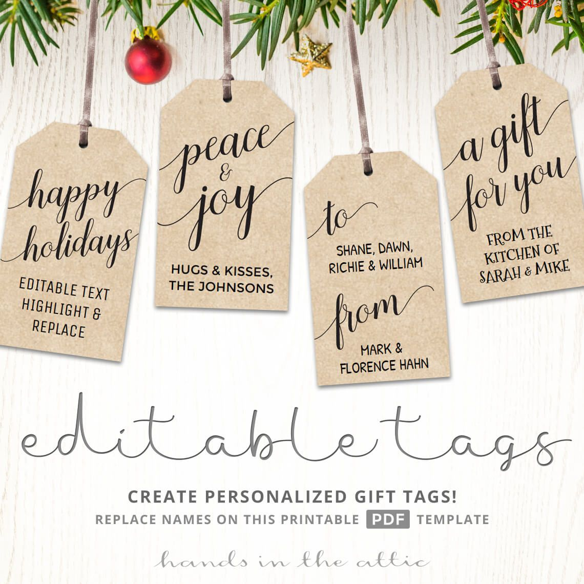 Printable Christmas Gift Tags  Kraft  White  Printable