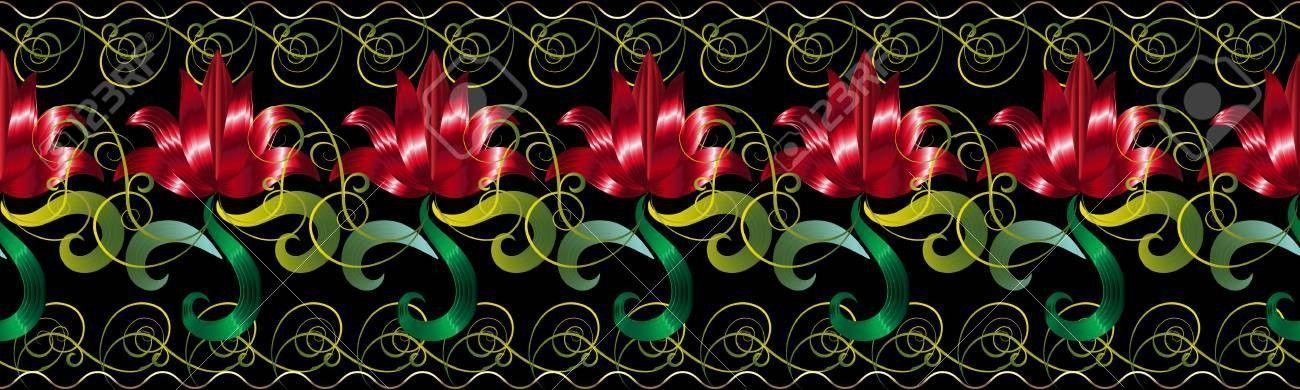 Red And Black 3d Wallpaper Elegant Red 3d Flowers Seamless Border Pattern Vector Black Border Elegant Flower 3d Wallpaper Red 3d Wallpaper Border Pattern
