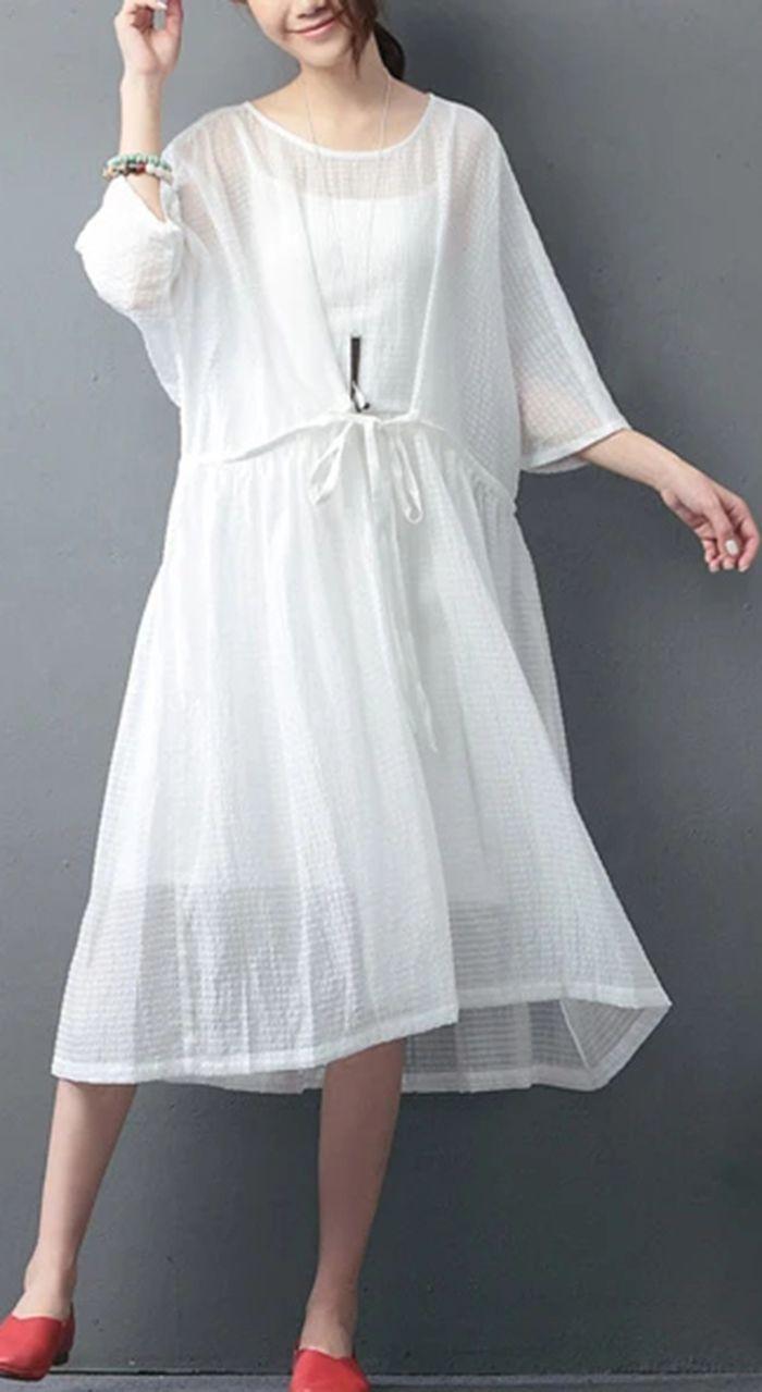 Top Quality White Natural Linen Dress Trendy Sleeveless Plus Size Two Pieces Cotton Dress Natural Linen Dress Summer Fashion Dresses Cotton Dresses [ 1279 x 700 Pixel ]