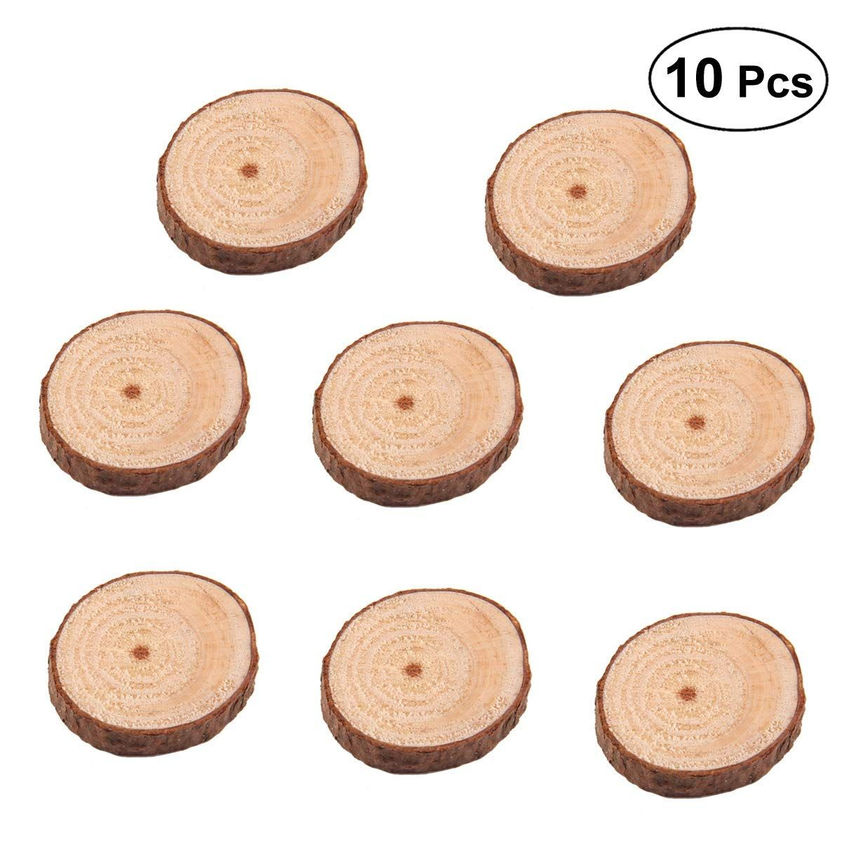 Yeahibaby 100pcs Natural Wood Slices Wooden Circles Unfinished Round Wood Pieces With Tree Bark Log Discs For Christmas We Wedding Crafts Diy Diy Crafts Crafts