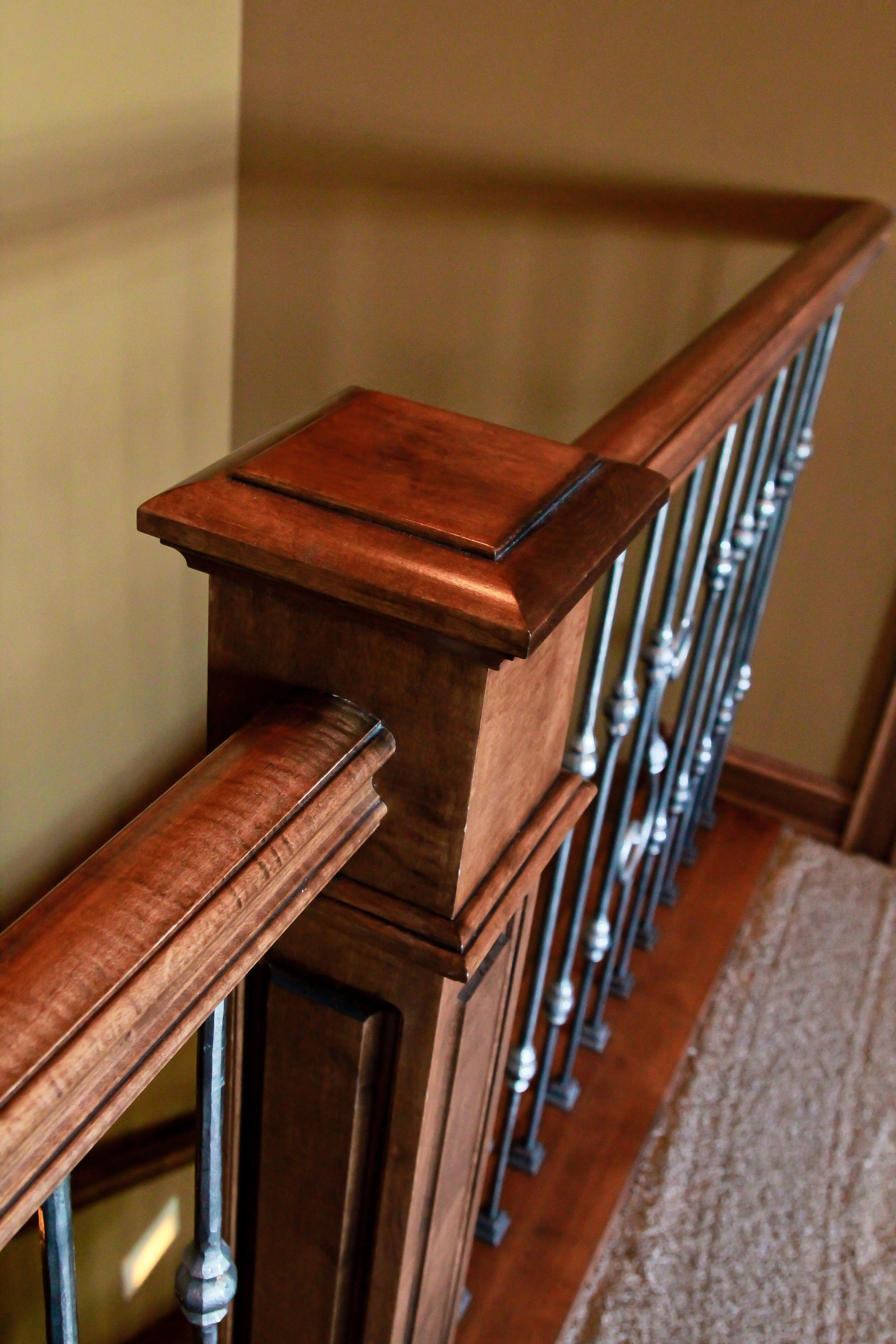 Best Mission Style Newel Post And Metal Ballusters Staircase 400 x 300