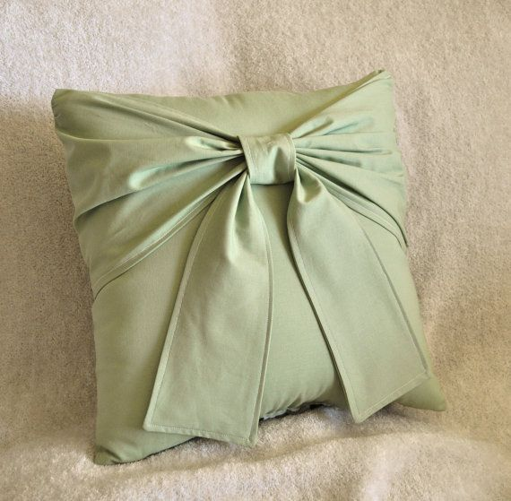 Sage Green Bow Pillow 40 X 40 Accent Pillow For The Home Inspiration Sage Green Decorative Pillows
