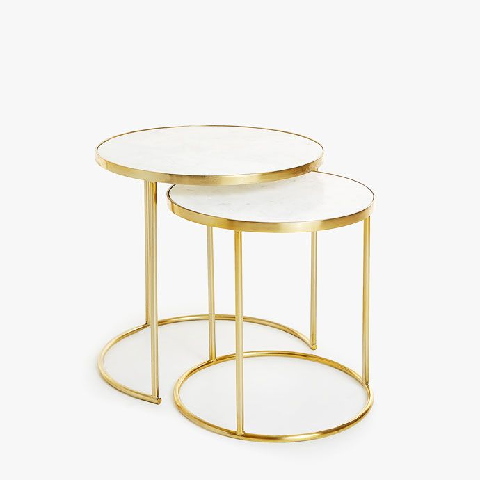 Nest Of Tables With Marble Top And Golden Frame Set Of 2 Zara Home United Kingdom Zara Home Nesting Tables Brass Furniture