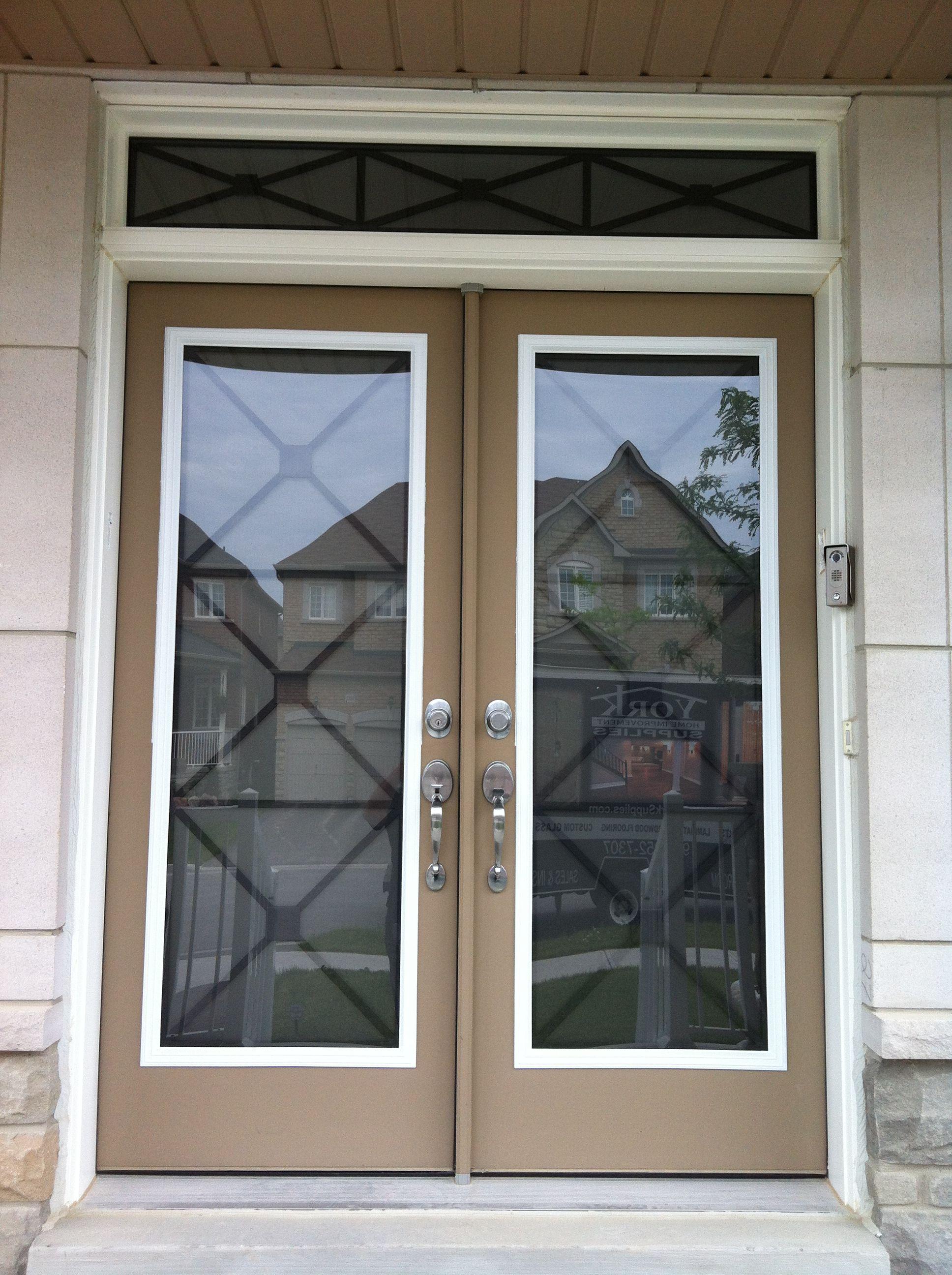 York Supplies Wrought Iron Glass Door Insert Using Our X Design