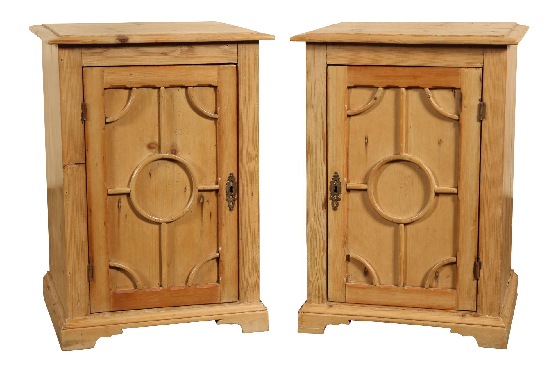 Pair of English pine cabinets plank construction with raised