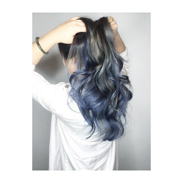 Image Result For Ash Blue Highlights On Black Hair Blue Ombre