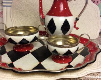Custom hand painted silver tea set