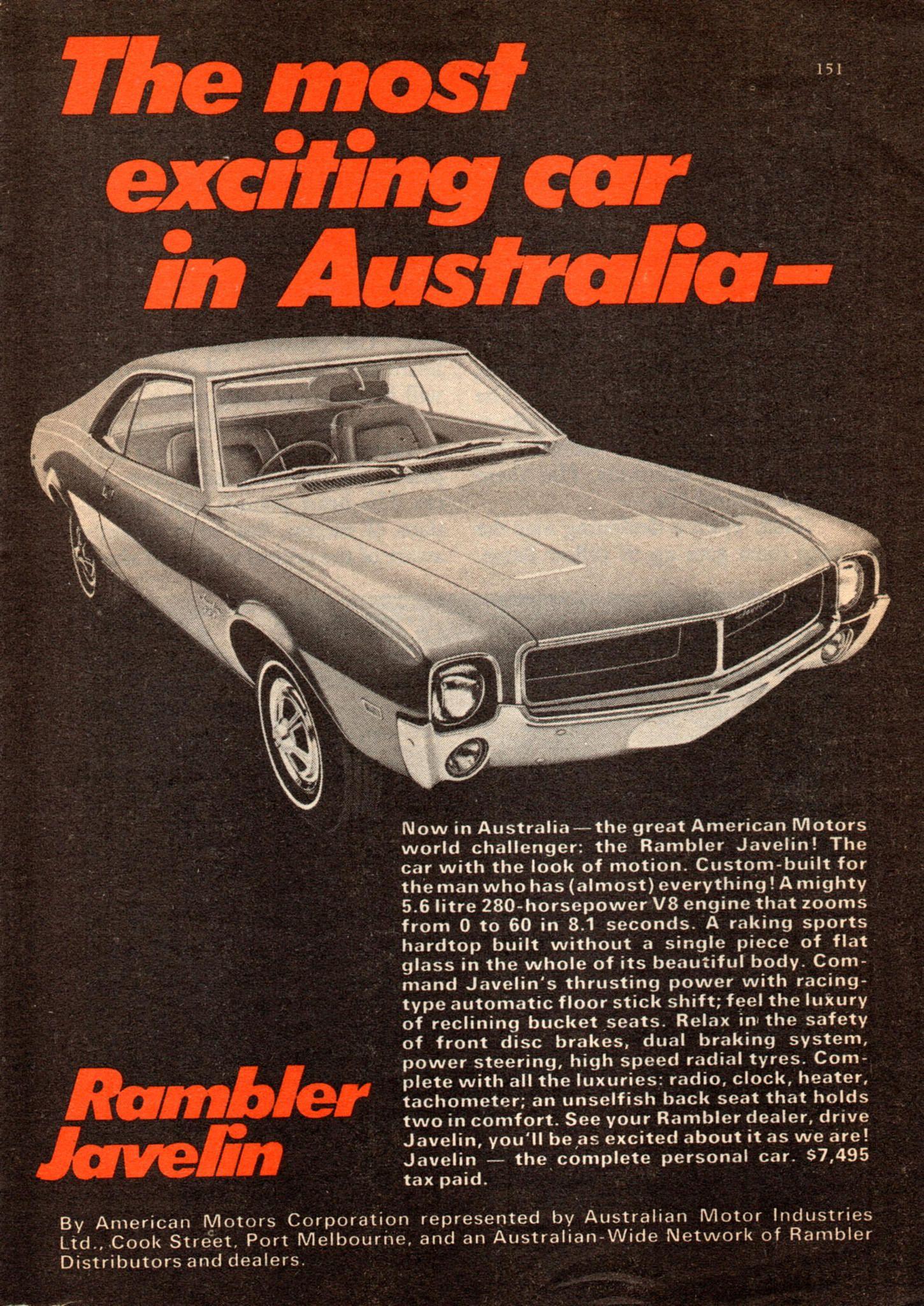 1969 Rambler Javelin Sport Coupe Amc Ami Aussie Original Magazine