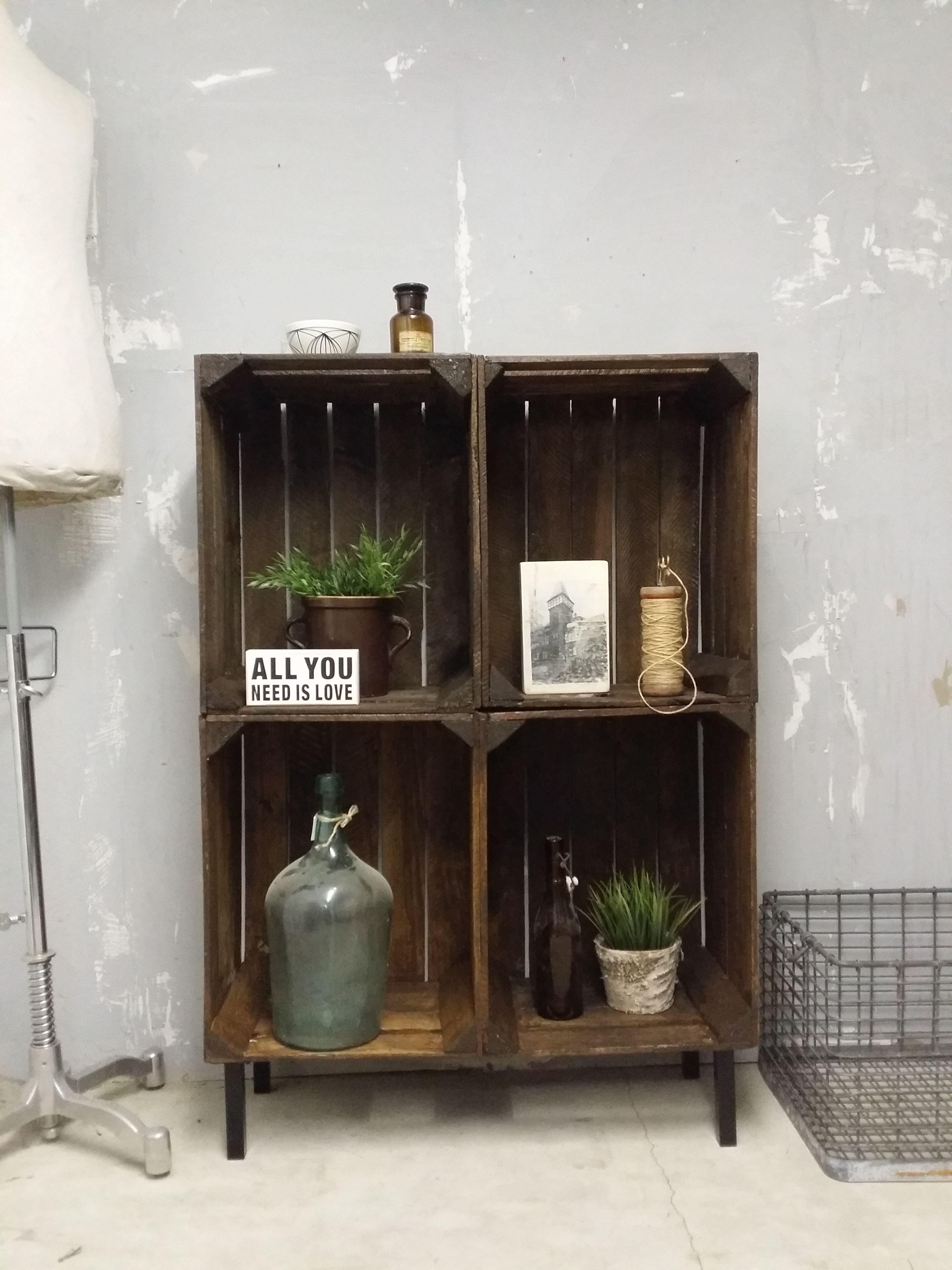 regal aus alten obstkisten shabby obstkiste weinkiste. Black Bedroom Furniture Sets. Home Design Ideas