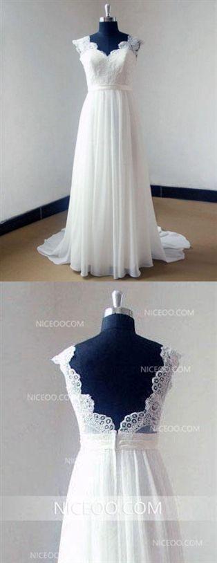 Weiß Eine Linie Liebsten Strap Open Back Chiffon Brautkleider Brautkleid