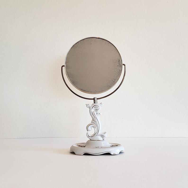 Two sidedTable top mirror ceramic porcelain floral base