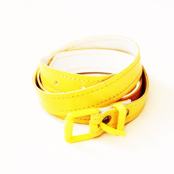 Vintage1960s Pastel Lemon Yellow Mod Plastic Thin Belt by LeCri, $17.00