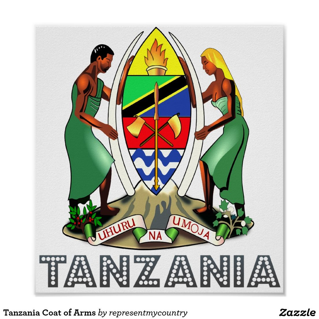 Tanzania Coat of Arms Poster Zazzle.co.uk Coat of arms
