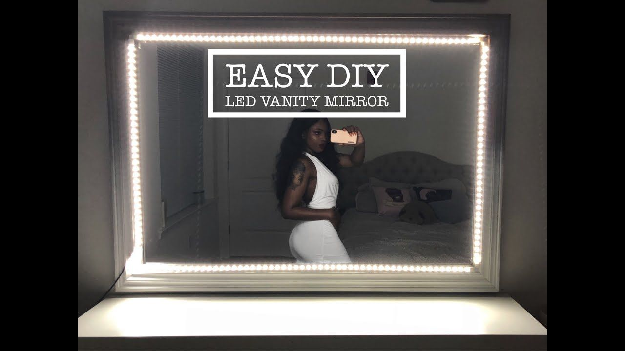 Easy Diy Led Light Up Vanity Mirror With Remote Tutorial By Yanaglo Led Diy Diy Vanity Mirror With Lights Mirror With Led Lights