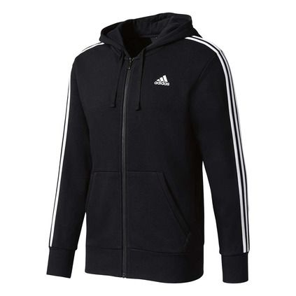adidas Men's Essentials 3 Stripes Hoodie | Adidas men, Black