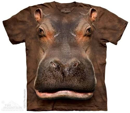 Tie-dye t-shirt by The Mountain featuring the face of a Hippo.