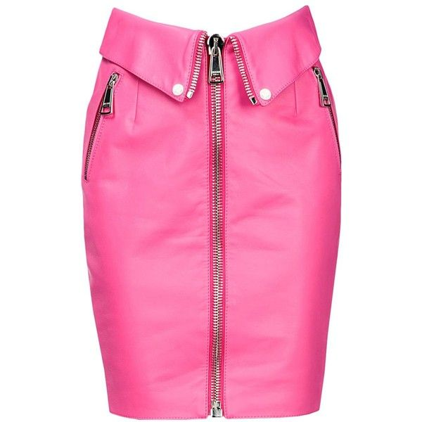 Moschino Leather Skirt ($995) ❤ liked on Polyvore featuring skirts, bottoms, fuchsia, moschino, leather skirt, pink leather skirt, knee length leather skirt and leather zipper skirt