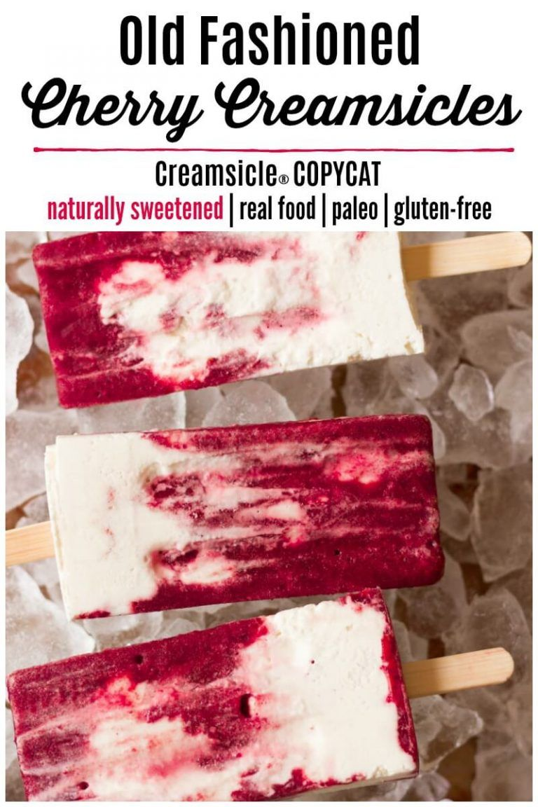 Cherry Creamsicles (Real Food + No Refined Sugar) #homemadepopsicleshealthy