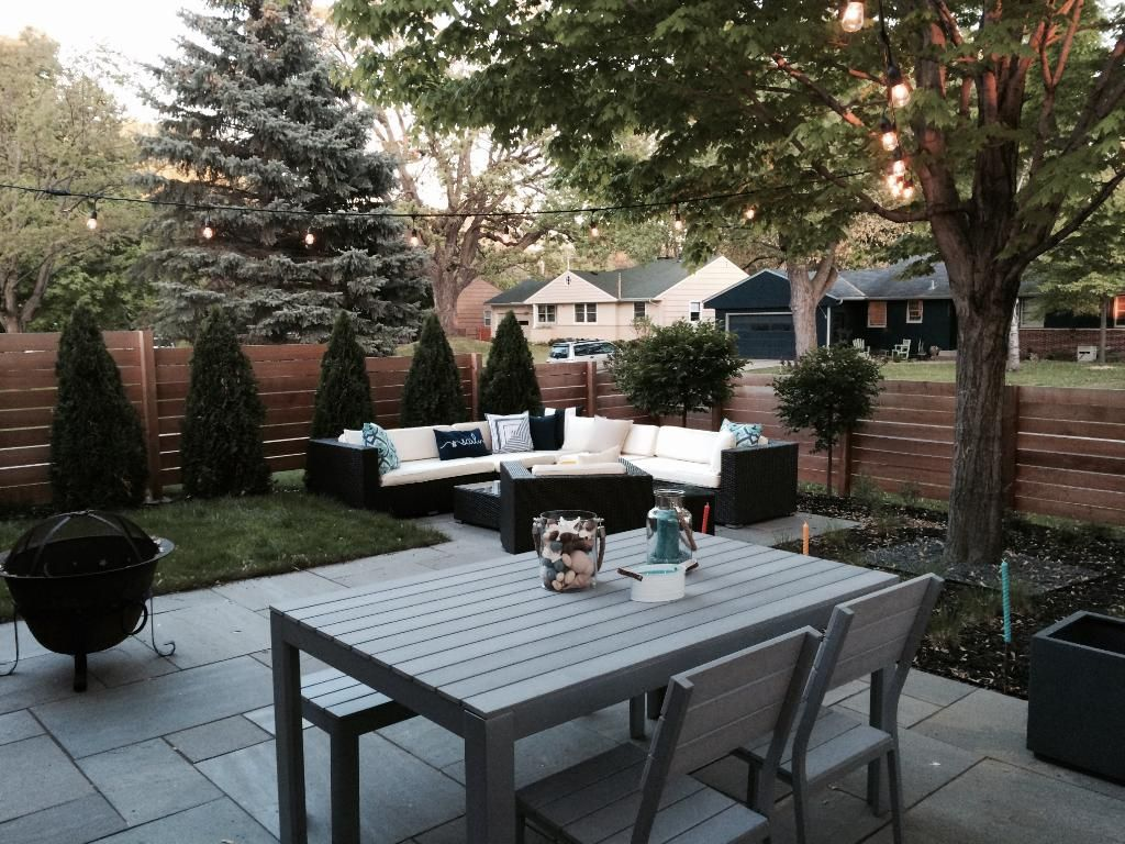Summer view of courtyard. Owners have created a backyard ...