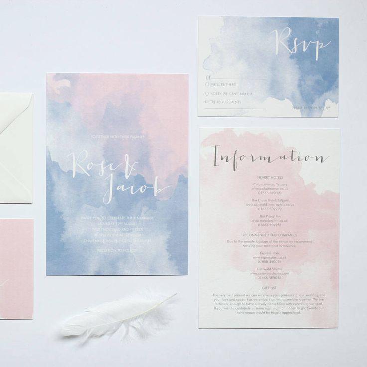 3f0f5ea9005f992de812170b940e0525 unique wedding invitation rose quartz and serenity wedding suite luxury watercolour wedding invitation pantone 2016 stopboris Images
