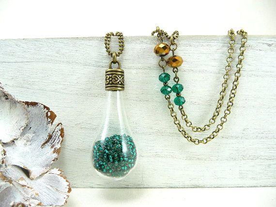 Изумрудное ожерелье, ожерелье Teardrop, Стекло подвеска, Бесплатная доставка