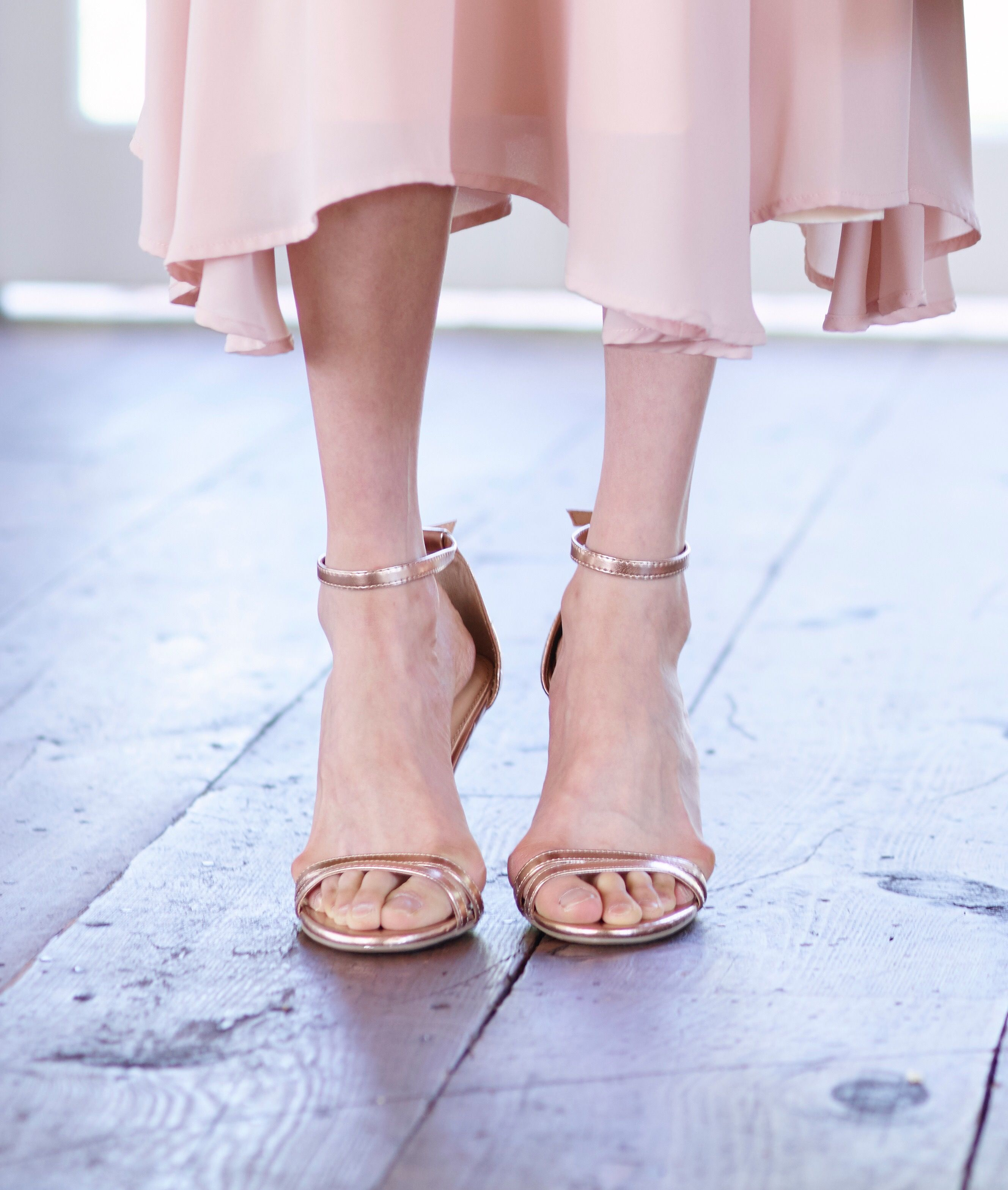 fe8d2da22643 LC Lauren Conrad Runway Collection Ankle Strap Heels in Rose Gold