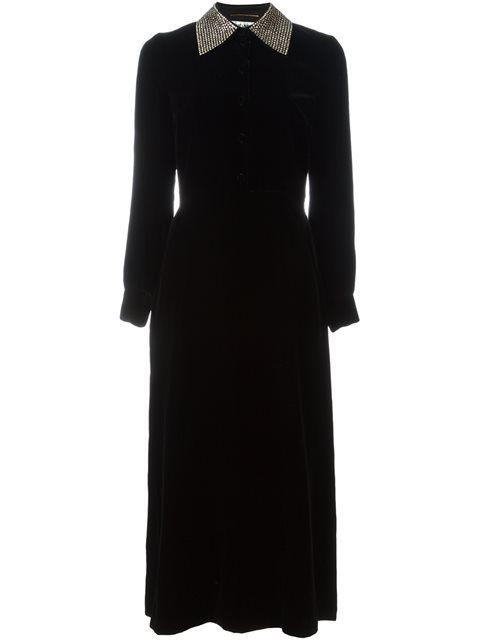 SAINT LAURENT Studded Collar Velvet Dress. #saintlaurent #cloth #dress