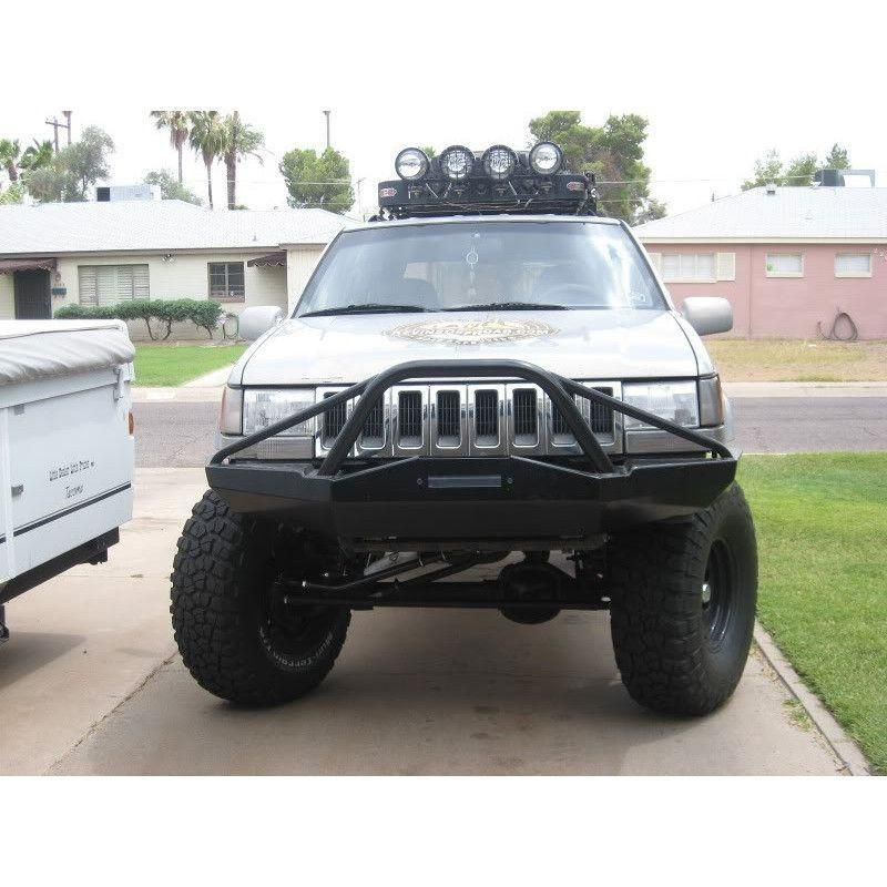 Zj Grand Cherokee Front Bumper Stealth Style W Light Bar Stinger Jeep Grand Cherokee Accessories Jeep Jeep Parts