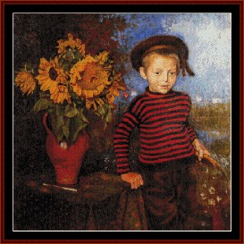 Photo of Boy with Sunflowers – Lemmen cross stitch pattern by Cross Stitch Collectibles | Crafting | Cross-Stitch | Wall Hangings