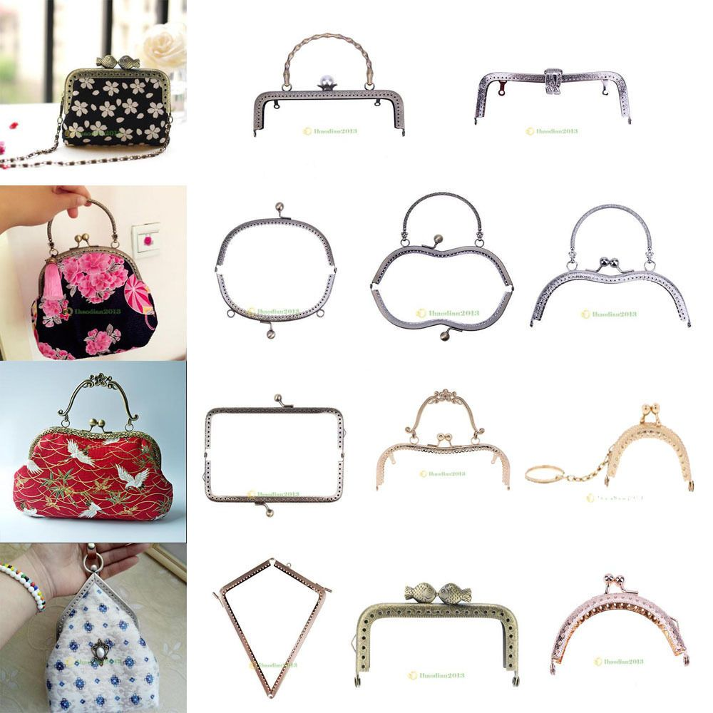 Metal Purse Frame Clutch Handle Bag Kiss Clasp Rectangle Lock DIY Craft Handmade