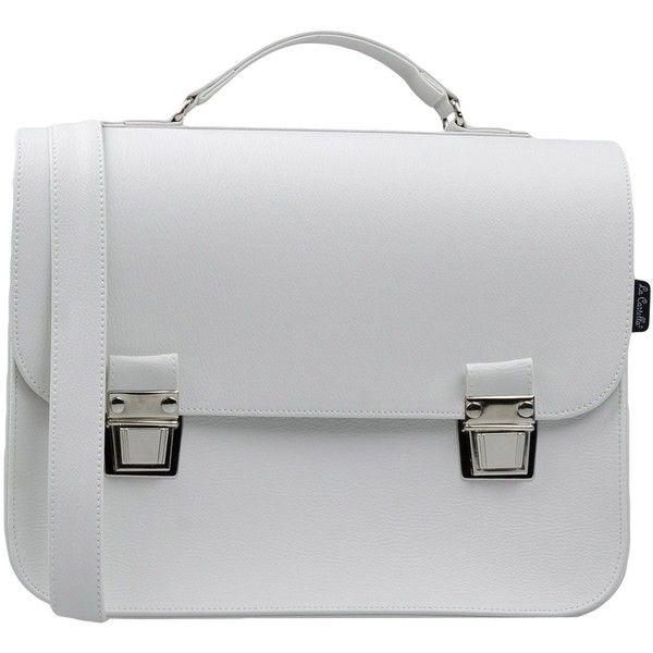 La Cartella Work Bags (790 SEK) ❤ liked on Polyvore featuring bags, handbags, white, satchel handbags, white bag, satchel purses, white purse and white satchel