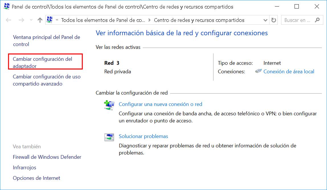 formacionprofesional.info Tú has guardado en Tutoriales Windows 10 1 Cambiar configuración adaptador de red.