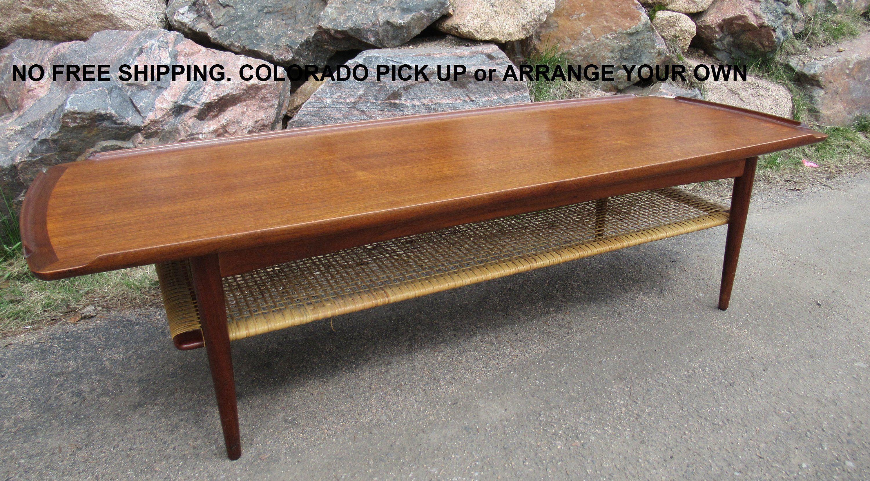 Midcentury Teak Coffee Table With Cane Shelf By Selig Poul Jensen Designed Teak Midcent Refinishing Furniture Refurbished Furniture Diy Furniture Design Table [ 1660 x 3000 Pixel ]