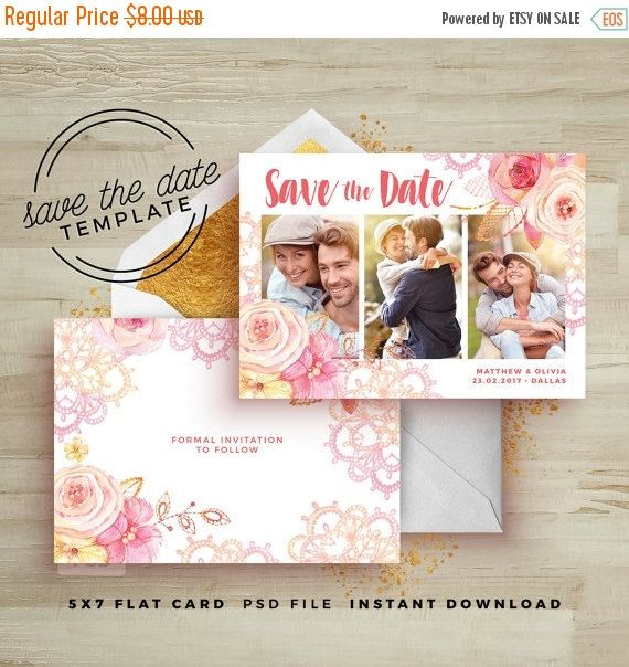 35 OFF TODAY ONLY Save the Date Card Floral Template - Wedding