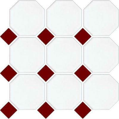 NC212819 White Octagon with Burgundy Dot Mosaic Tiles ...