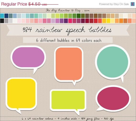 Sale 384 speech bubbles clipart round square by thedigirainbow