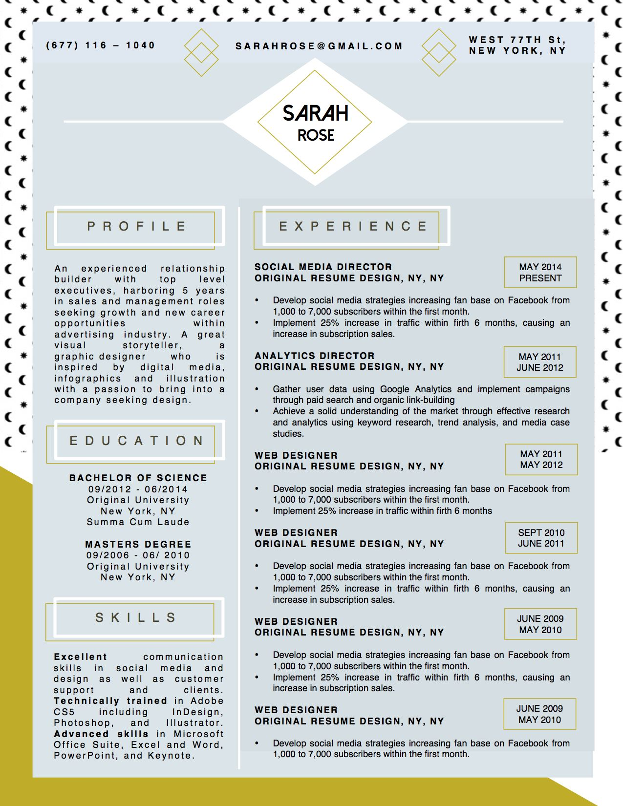 Beautiful Resume Cv Template For Microsoft Word With Matching