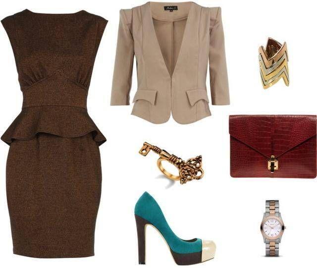 С чем одеть коричневое платье фото