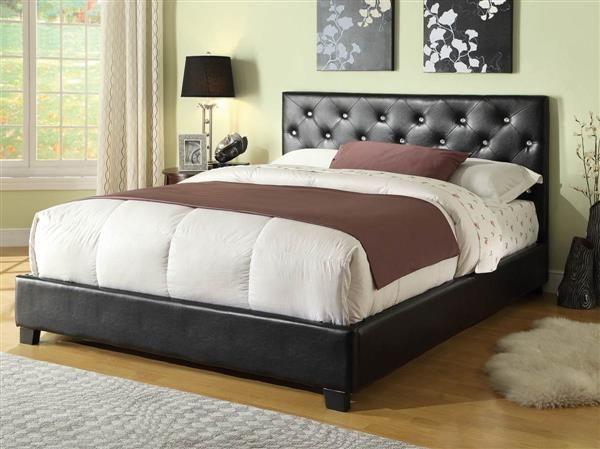 Regina Modern Black Wood Leatherette Queen Platform Bed Coaster