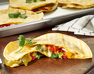 Use our Recipe Ready Tri Color Pepper & Onion Blend to make Spicy Pepper Jack Corn Quesadillas. They're even gluten free!