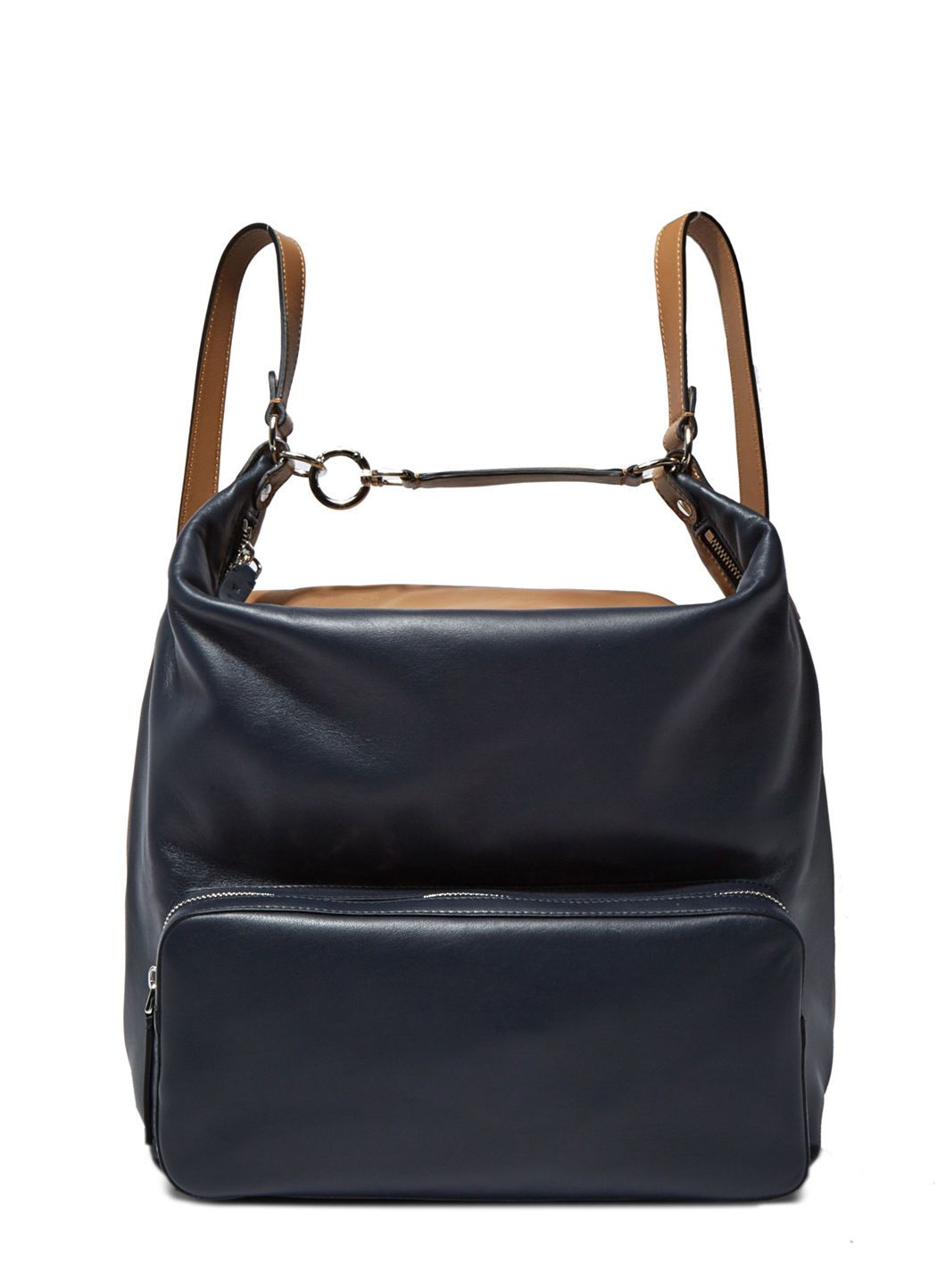 5c673aba49 MARNI Women S Leather Pocket Backpack In Brown And Navy.  marni  bags   leather  lining  backpacks