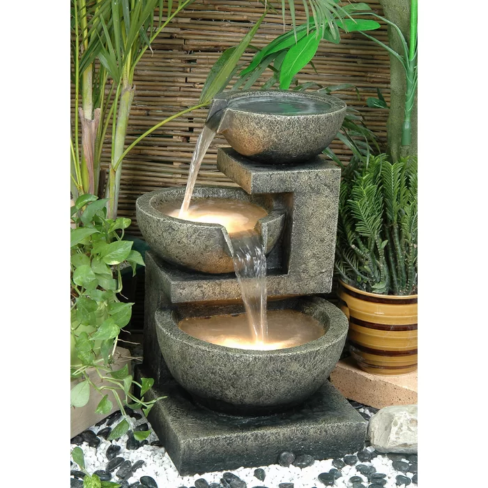 Fiber And Resin Bowl Fountain With Light Garden Water Fountains Outdoor Water Features Water Fountains Outdoor